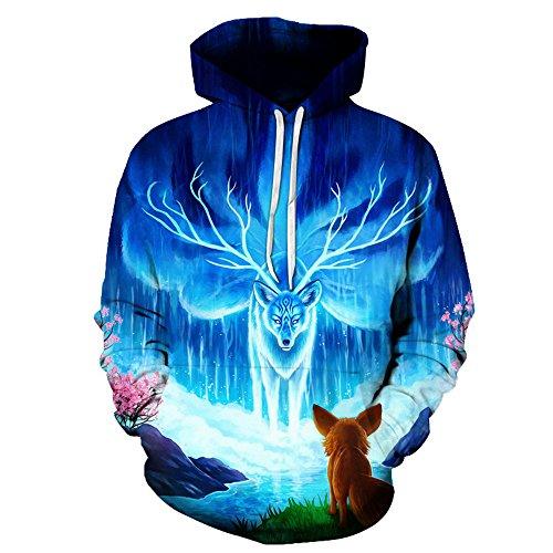 Angel White Hoodie - QJH Angel elk Print Sweatshirt Unisex Realistic 3D Digital Hooded Hoodie