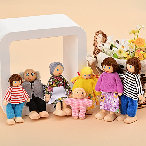 Wooden Poseable Happy Doll Family of 7 People for Dollhouse (Family Dollhouse Doll)