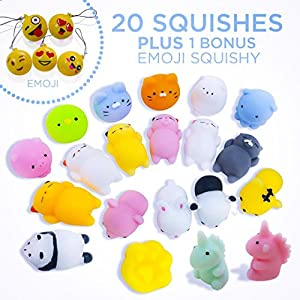 Mochi Squishy Easter Egg Fillers Party Favors Fidget Stress Relief Squishies Toys for Kids - 20 +1 Kawaii Animal Cat UNICORN Squishys + Cute Random Emoji Slow Rising Squishes Mini Novelty Gifts BUYLET