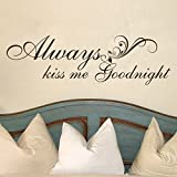 MairGwall Love Wall Quote - Always Kiss Me Goodnight -Valentine Master Room Art Sticker(Black, X-large)