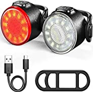 Oture LED Bike Lights Set, Waterproof Headlight and Taillight Combinations, USB Rechargeable Super Bright 6 Br