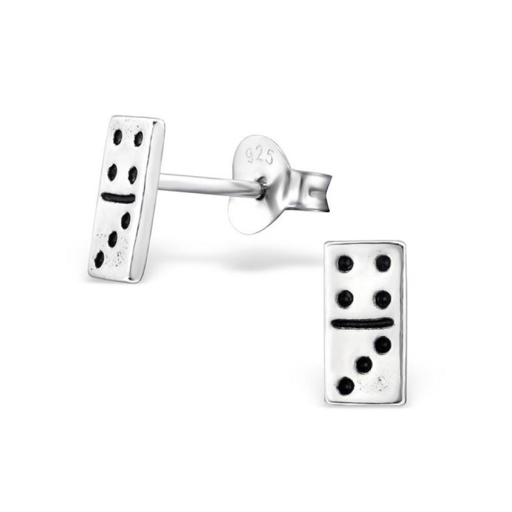 Sterling Silver Domino Stud Earrings