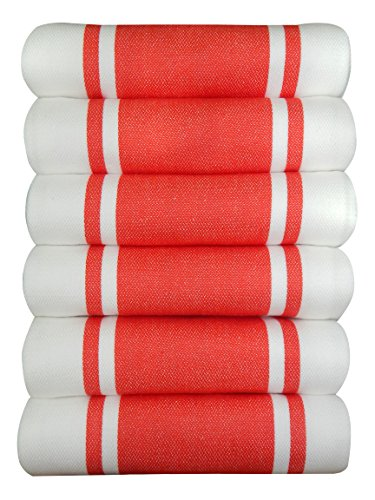 Dish Kitchen Towels Vintage Striped 100% Cotton Tea Towel 20 x 28 inch Set of 6, Red