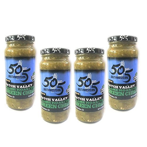 505 Southwestern 16oz jars Diced Flame Roasted Green Chile – Medium (4 pack) with Recipes (Roasted Chile)