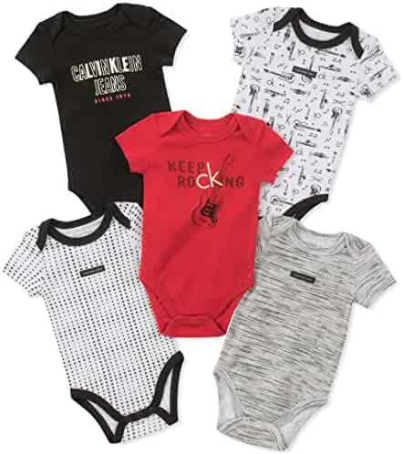 Calvin Klein Baby Boys 5 Pack Bodysuits