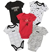 Calvin Klein Baby Boys 5 Pack Bodysuits, Black/Gray/Red, 12M