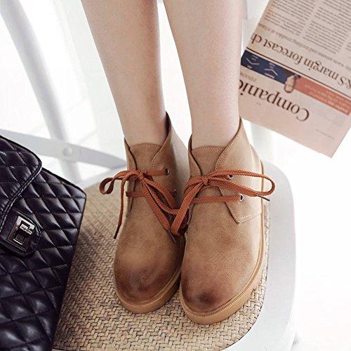 Mee Shoes Damen süß warm gefüttert ankle Boots Hellbraun