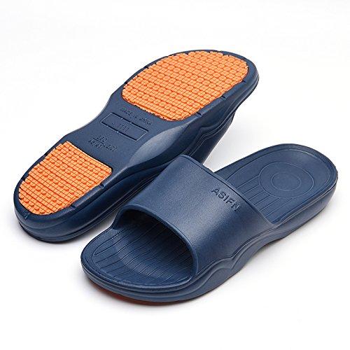 fankou Baño Interior Baño Antideslizante Cool Zapatillas Mujeres Home Stay Espesor Suave Abajo par Pisos Zapatillas Verano Macho,43-44,C- Azul Oscuro