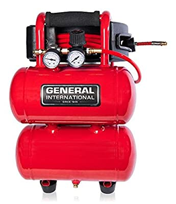 General International AC1212 1-3 HP 2 Gallon Twin Stack Air Compressor With 25 ft. Auto Rewind Hose Reel
