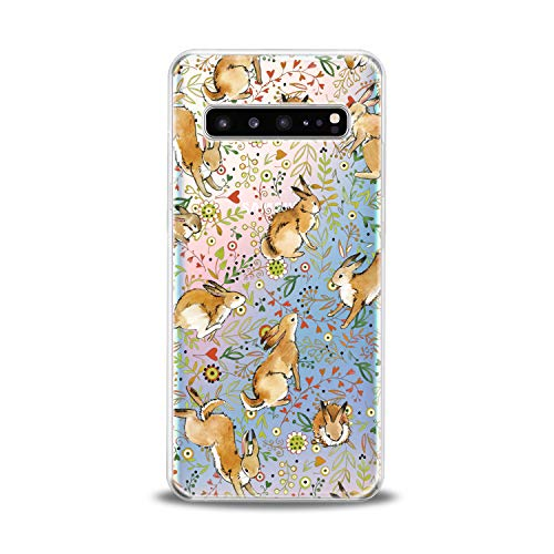Lex Altern TPU Case for Samsung Galaxy s10 5G Plus 10e Note 9 s9 s8 s7 Clear Bunny Cute Cover Rabbit Floral Animal Pattern Green Flower Lightweight Protective Transparent Flexible Girl Women Silicone