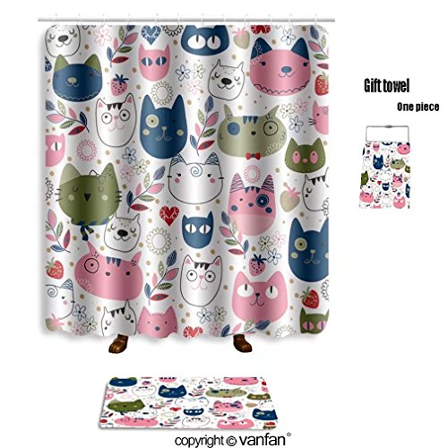 vanfan bath sets with Polyester rugs and shower curtain hand drawn kitty cat wallpaper illustration 2 shower curtains sets bathroom 54 x 78 inches&23.6 x 15.7 inches(Free 1 towel and 12 hooks)