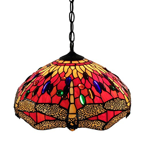 Whse of Tiffany P161467A Tiffany Style Dragonfly Hanging Lamp, Red (Handcrafted Red Lamp)
