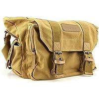 BESTEK Waterproof Canvas DSLR Camera Shoulder Bag with Shockproof Insert - Khaki