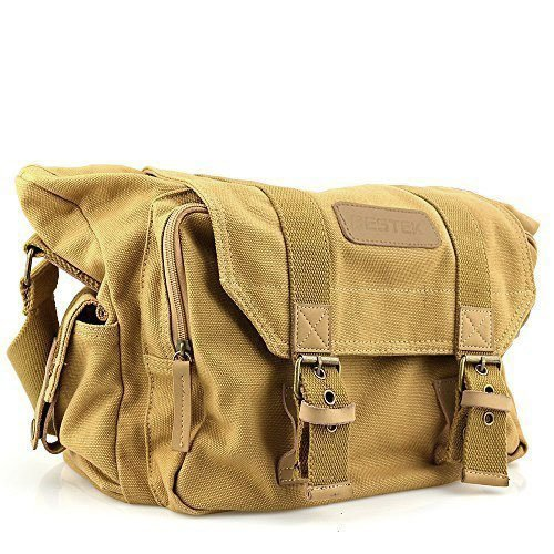 BESTEK Waterproof Canvas DSLR Camera Shoulder Bag with Shockproof Insert - Khaki (Camera Bag Dslr Waterproof)