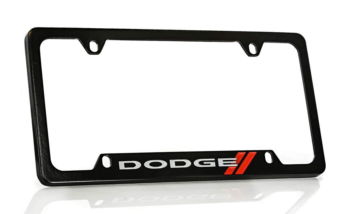 Dodge Logo License Plate Frame Baronlfi 4 Hole Zinc, Black//Bottom
