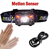 MONOJOY LED Headlamp USB Rechargeable Flashlight Waterproof Bright Headlight Hands Free Sensor Switch with USB Cable for Outdoor Camping Hiking Hunting Reading Night Running, Black
