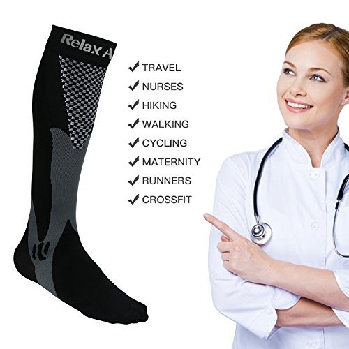 HOFAM Compression Socks For Men And Women Graduated Athletic Sport For Running, Biking, Hockey, Baseball, Flight Travel, Nurse