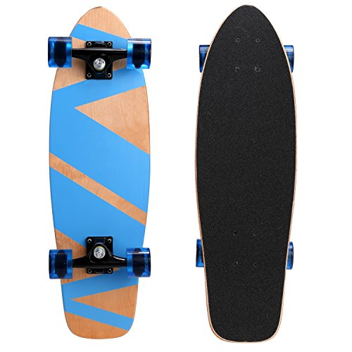 "Kaluo 27"" Classic Wooden Skateboard with Cruiser Style 9 Layer Canadian Maple Wood Complete (Classic Skateboard)"