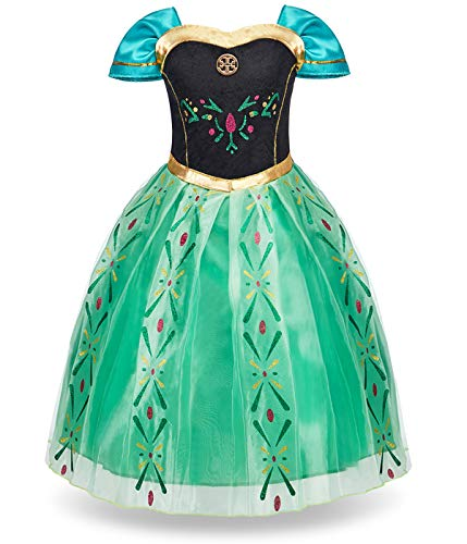 FUNNA Princess Anna Frozen Costume for Toddler Girls Fancy Dress Party, Green, 2T ()