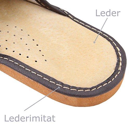 Hausschuhe Herren Echtleder Pantoffeln Latschen Leder Braun Größe 43 NEU braun