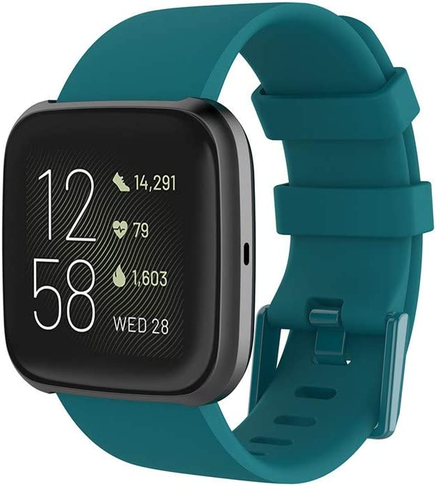Green 3 FunDiscount Sport Bands Compatible with Fitbit Versa//Versa 2//Versa Lite Soft Silicone Waterproof Breathable Replacement Strap Adjustable Wristband Strap Accessory for Women Men