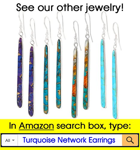 Turquoise Pendant & Earrings Set in 925 Sterling Silver with 20'' Chain (Pendant+Earrings+Chain) by Turquoise Network (Image #9)