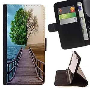 - Different Season Tree - - Prima caja de la PU billetera de cuero con ranuras para tarjetas, efectivo desmontable correa para l Funny HouseFOR Sony Xperia Z1 L39
