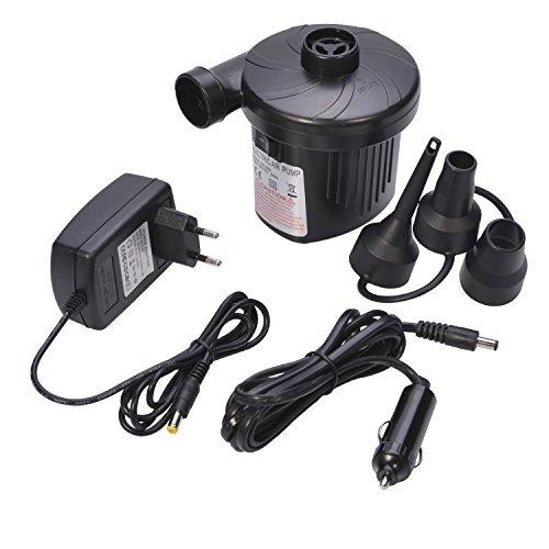 Rosefray Elektrische Luftpumpe Auto Elektropumpe Gebläsepumpe für schnelles Auf- & Abpumpen mit 3 Adaptern für Auto Camping Freizeit 12 V
