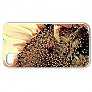 Sunflower - Case Cover for iPhone 4 and 4s (Flowers Series, Watercolor style, White)