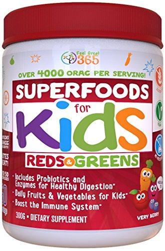 Doctor-Formulated: Superfoods For Kids (60-Day Supply): Red & Greens, Vitamins, Organic Ingredients, Gluten Free, Vegan, Whole Food Powder – Fruits, Veggies, Probiotics & Digestive Enzymes. Digestive Greens