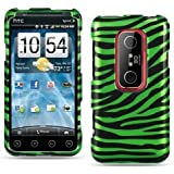 Green Zebra Design Snap-On Protector Hard Cover Case for HTC EVO 3D (Sprint)