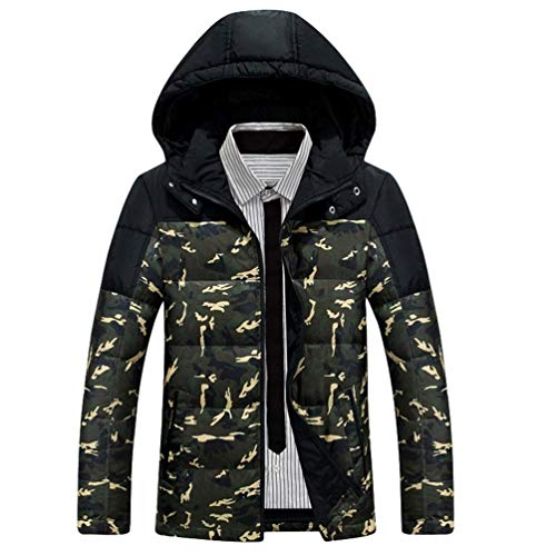 Men's Winter Down Jacket Short Hooded Warm Camouflage Ntel Men's Winter Young Fashion Jacket with Zipper Outerwear Armeegrün
