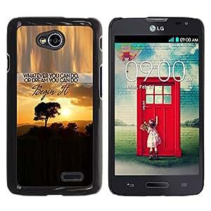 Qstar Arte & diseño plástico duro Fundas Cover Cubre Hard Case Cover para LG Optimus L70 / LS620 / D325 / MS323 ( Sunset Text Inspiring Tree Africa Clouds)