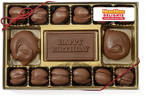 Gourmet Chocolate Gift Box | Happy Birthday | Milk Chocolate Covered Pecans and Caramel Clusters| 14 -