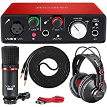 Focusrite Scarlett Solo Recording Audio Interface Studio Kit Contains Mic w/ Cable, Headphones, LyxPro Instrument Cable for Singer's, Songwriter's and Guitar Players