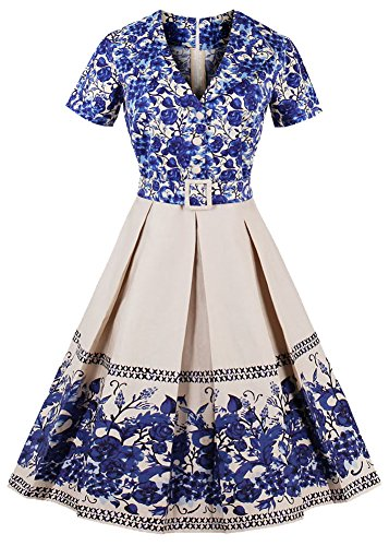 Nihsatin Women's Audrey Hepburn Vintage Floral Rockabilly Swing Dress with Sleeves