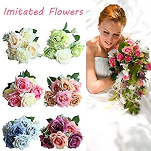 Imitated Flowers 7 Flower Heads/Bouquet Rose Home Decoration Wedding Bouquet Road Guided Flowers Wall Plants Wall Artificial Flowers Supplies for Christmas Party 68