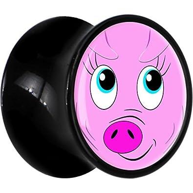Cuerpo Caramelo Acrílico Negro Rosado Cerdo Cara Dilatación Ancho Par 7mm: Amazon.es: Joyería