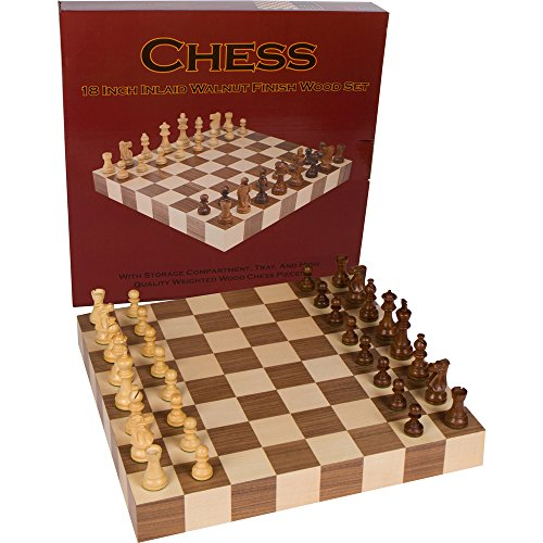 Athena Tournament Chess Inlaid Wood Board Game with Weighted Wooden Pieces - 18 Inch -