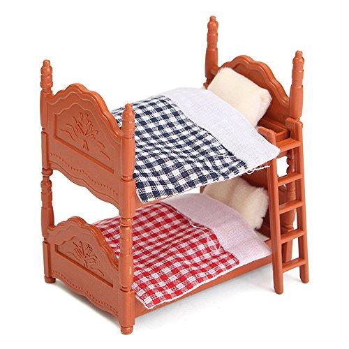 Dollhouse Miniatures Furniture Bedroom Fluctuation Bed Two Beds for (Dollhouse Miniature Bedroom Furniture)