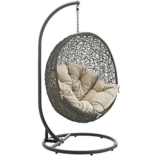 73-GRY-BEI Hide Outdoor Patio Swing Chair, Gray Beige ()