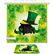 "Minicoso Bathroom Two-Piece Suit: Shower Curtain and Bath Rug Day Leprechaun Hat And Shoecostume With Pot Of Gold With Shamrock Leave, 71""W x 79""H_31""W x 20""H"