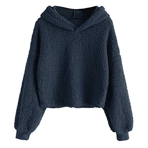 - ZAFUL Women's Long Sleeve Hoodie Faux Fur Solid Color Crop Pullover Sweatshirt Tops Navy L