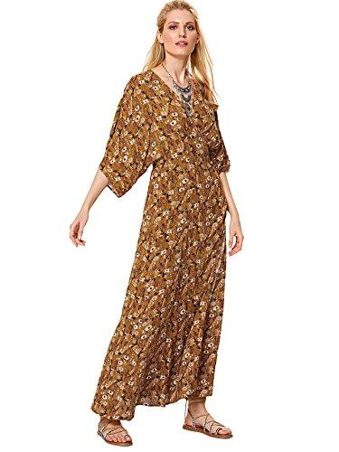 Milumia Women's Floral Kimono Sleeve High Waist Waistband Backless Pleated Kimono Maxi Dress Multicolor-4 S