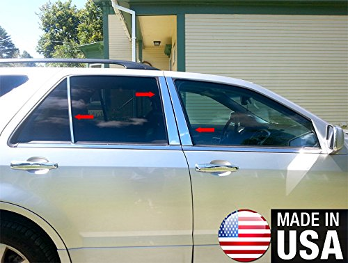 Made in USA! Works with 2004-2009 Cadillac SRX 6 PC Stainless Steel Chrome Pillar Post Trim