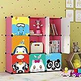 KOUSI Portable Kids Bookshelf Children Toy Organizer Multifuncation Cube Storage Shelf Cabinet Bookcase, Capacious & Study, Pink:9 Cubes