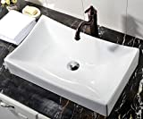 Above Counter Sink White Rectangle Porcelain Ceramic Above Counter Bathroom Vessel Sink Art Basin