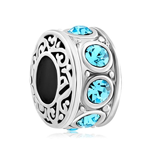 Christmas Jewelry Filigree Charm Light Blue Crystal March Birthstone Spacer Round Beads Cheap Fit Pandora Charms Bracelet Sale