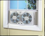 "Holmes Dual 8"" Blade Twin Window Fan with LED One"