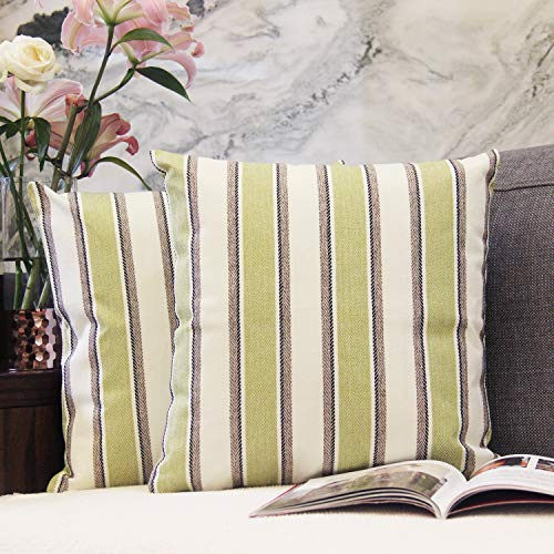 - JOJUSIS Stripe Throw Pillow Covers Farmhouse Pillowcases Pack of 2 20 x 20 Inch Green